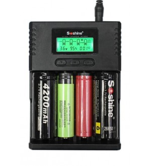 Soshine Charger H4 LCD Li-ion, Lifep04 & NiMH, adjustable charge rate, 250ma 500ma & 1000ma per bay