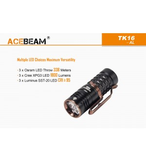 ACEBEAM TK16, Choice of CREE, OSRAM or LUMINUS LED